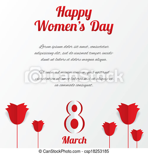 8 March Women's Day card with roses and text. - csp18253185
