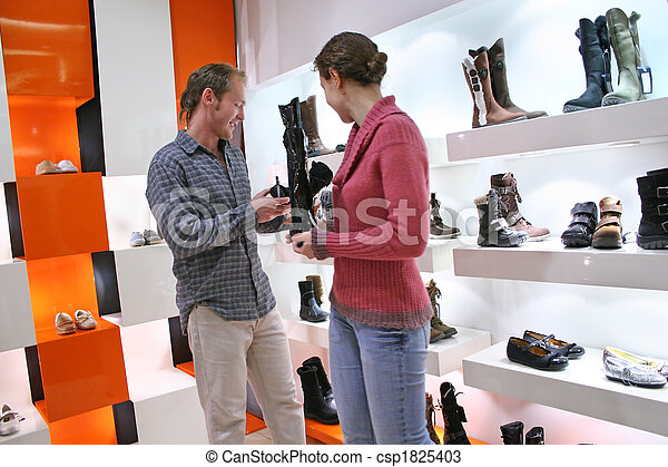 couple in shoes shop - csp1825403