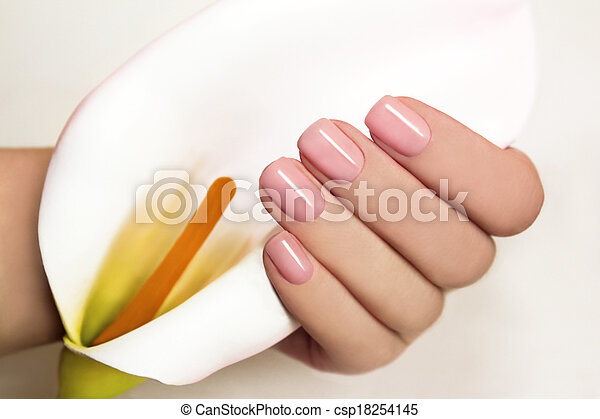 Manicure with gel coating on the young female hand with flower Koala.