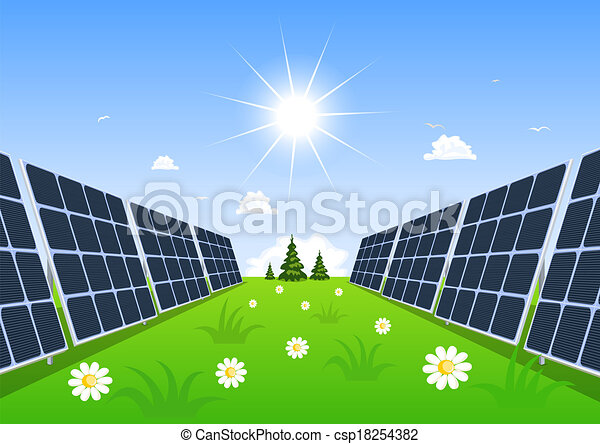 Solar panel produces green energy from the sun. - csp18254382