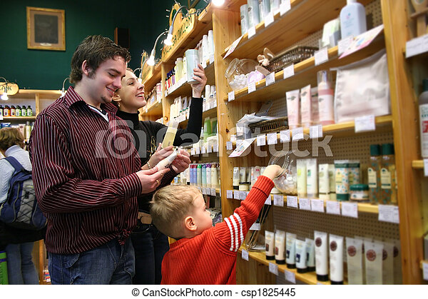 family in healthcare shop - csp1825445