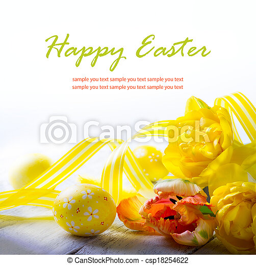 art easter eggs and yellow spring flower on white background - csp18254622