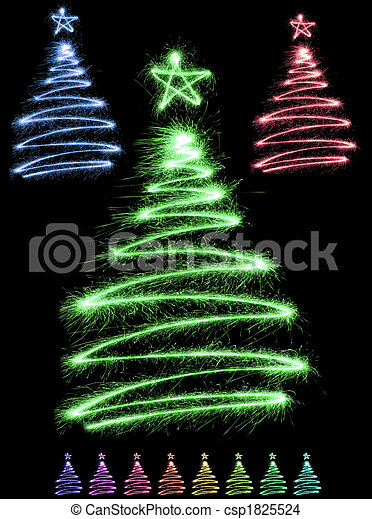 multicolor sparkler trees - csp1825524