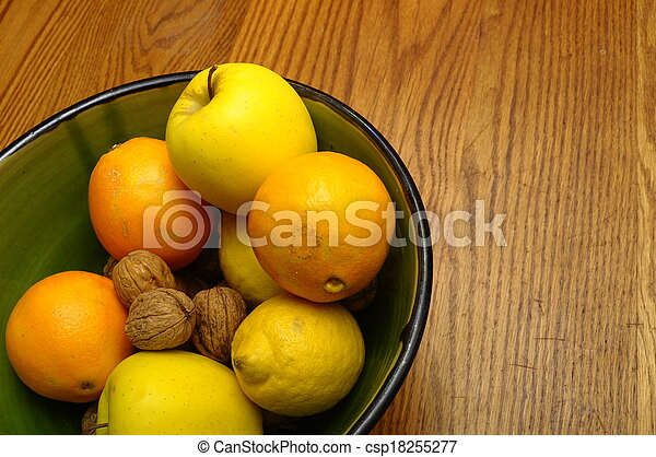 Winter european fruits in a bowl
