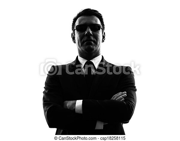 secret service security bodyguard agent man silhouette - csp18258115