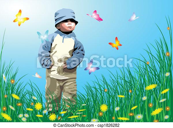 Small child in the garden - csp1826282