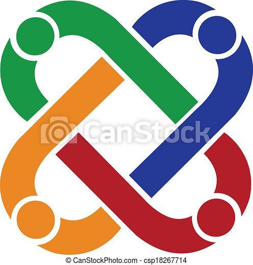 Vector Clip Art of Teamwork people connection logo ...