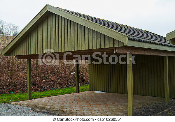 Modern carport car garage parking - csp18268551