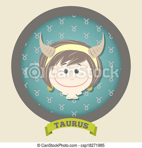 Vecteur - zodiaque, signes, collection, mignon, horoscope, -, taureau