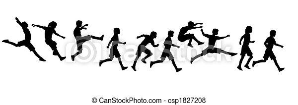 jumping running children - csp1827208