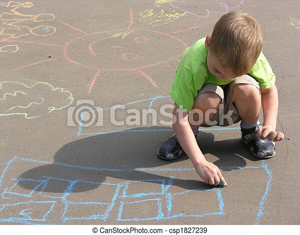 child drawing on asphalt - csp1827239