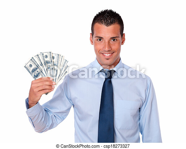 Handsome adult guy holding up cash money - csp18273327