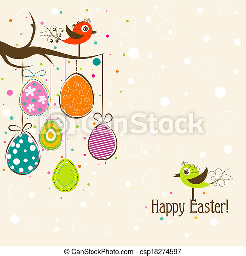 Template Easter greeting card, vector - csp18274597