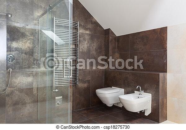 Stock foto 39 s van bruine tegels moderne badkamer for Bruine tegels