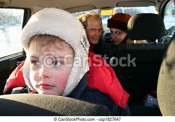 sad boy in winter family car - csp1827647