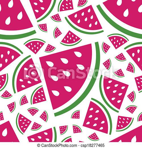 seamless watermelon pattern - csp18277465