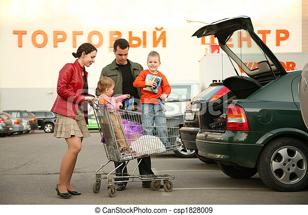 family on shop parking 3 - csp1828009