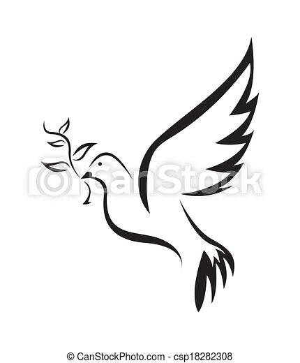 Vector Clipart Of Dove Of Peace Simple Symbol Csp18282308 Search Clip Art Illustration