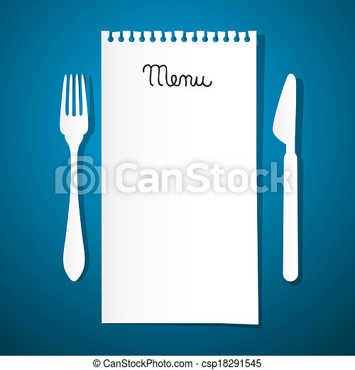 Paper Restaurant Menu with Knife and Fork on Blue Background - csp18291545
