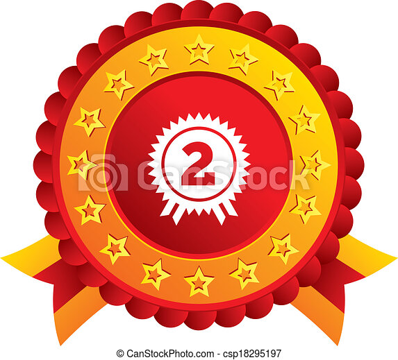 2nd place stock vector illustration royalty free 2nd place clipart - Eps Vectors Of Second Place Award Sign Icon Prize For