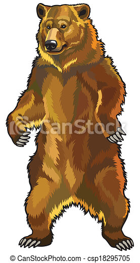Vector - grizzly bear Grizzly Bear Standing Clip Art