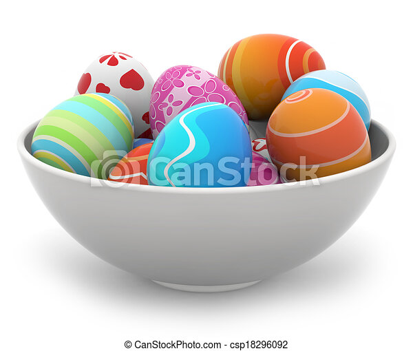 easter eggs in a white bowl - csp18296092