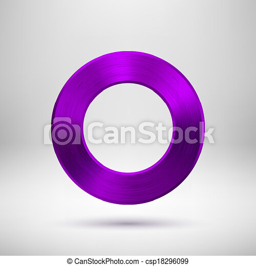 Purple Abstract Circle Button with Metal Texture - csp18296099