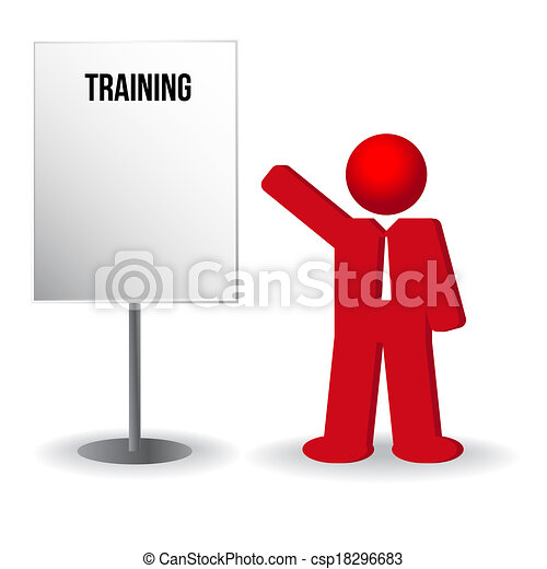 business man, person with a flip chart. Training, work - csp18296683