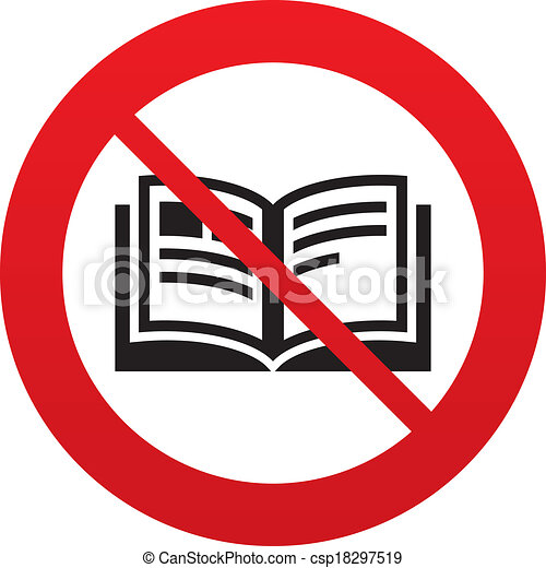 No Book sign icon. Open book symbol. Do not read. Red prohibition sign ...