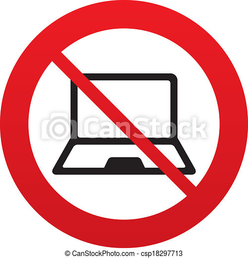 Vector - No Laptop sign icon. Notebook pc symbol. - stock illustration ...