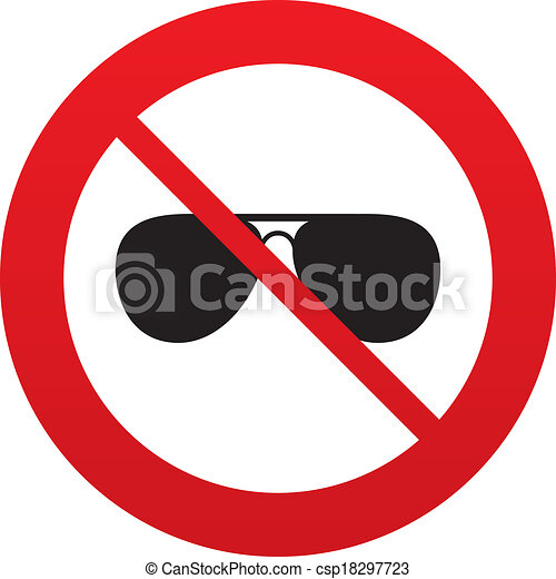 ... sign icon. Pilot glasses button. Red prohibition sign. Stop symbol
