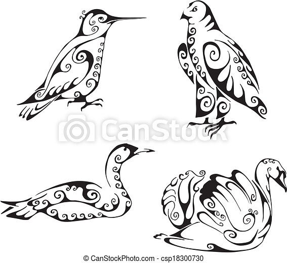 vecteurs de tribal style oiseaux oiseaux dans tribal style csp18300730 recherchez. Black Bedroom Furniture Sets. Home Design Ideas