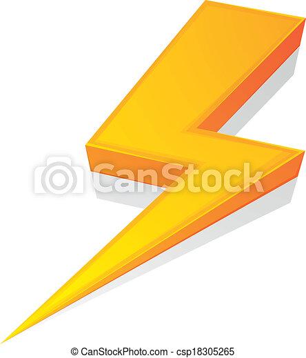 Clip Art Vector of Lightning Bolt - detailed illustration of a ...