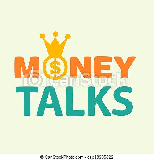 clip art of money talks text on yellow background