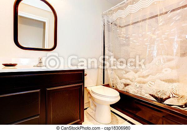 Plaatjes van donker bruine badkamer met wihite muur en beige csp18306980 zoek naar - Bruine en beige badkamer ...
