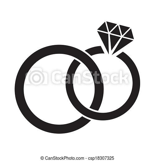 Vecteur de Anneaux, mariage - vecteur, noir, mariage, Anneaux ...
