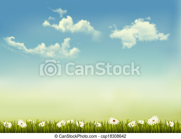 Retro nature background with green grass and sky . Vector. - csp18308642