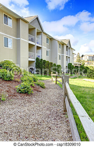 Fenced residential backyard - csp18309010