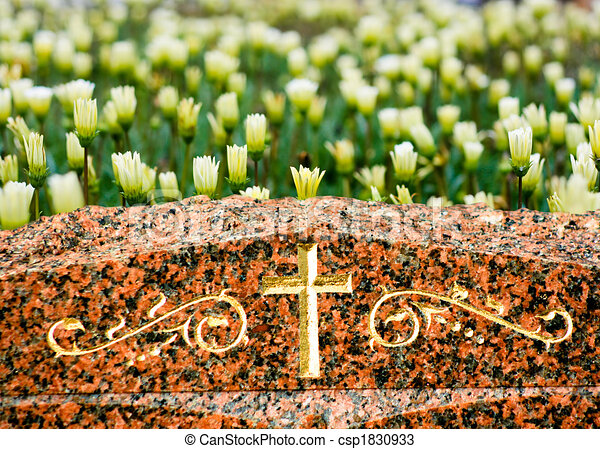 Drawings of Cross on Gravestone with Flowers - A Cross on headstone ...