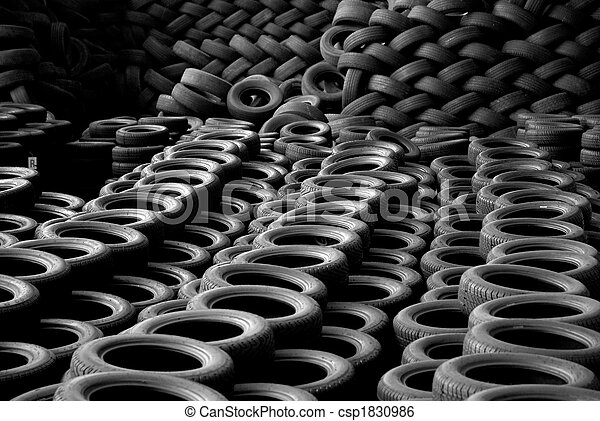 Pile of recycled tires. Recycling attitude - csp1830986