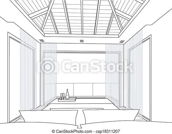Vecteur croquis conception int rieur chambre - Croquis chambre a coucher ...