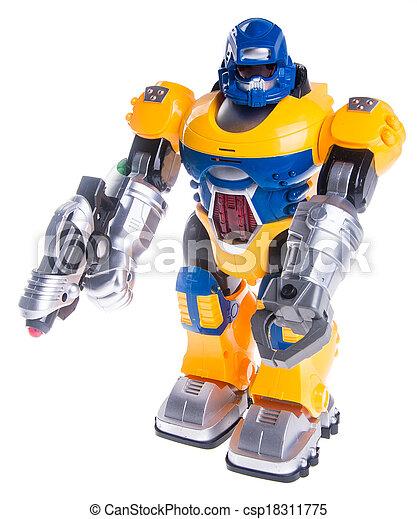 玩具, 機器人, 背景 - csp18311775