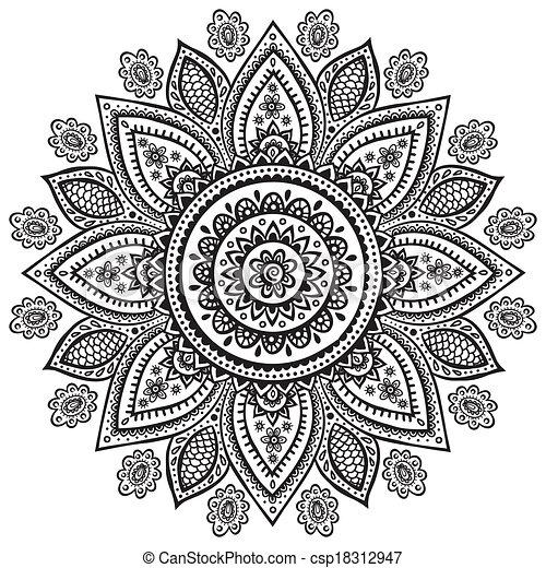 EPS Vektor Von Schone Blumen Indische Verzierung