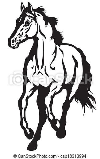 Vecteurs eps de courant cheval noir blanc courant cheval devant vue csp18313994 - Cheval a imprimer noir et blanc ...