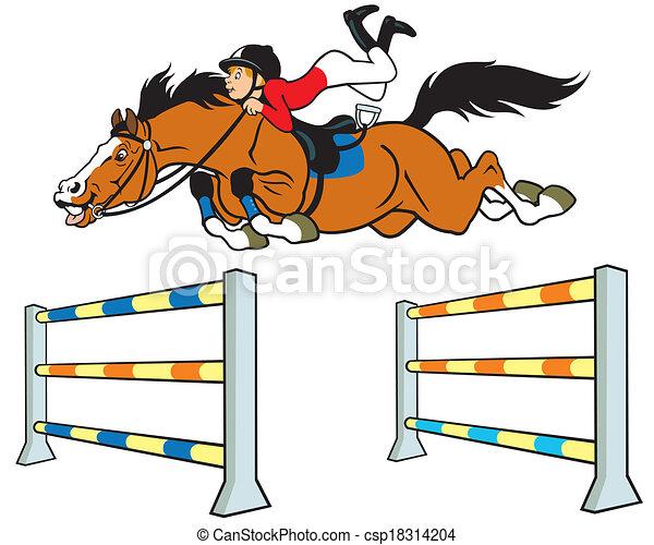 tecknad häst med ryttare