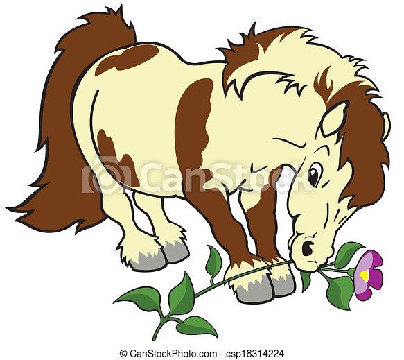 Illustration vecteur de fleur poney dessin anim cheval poney fleur image - Dessin anime avec des poneys ...
