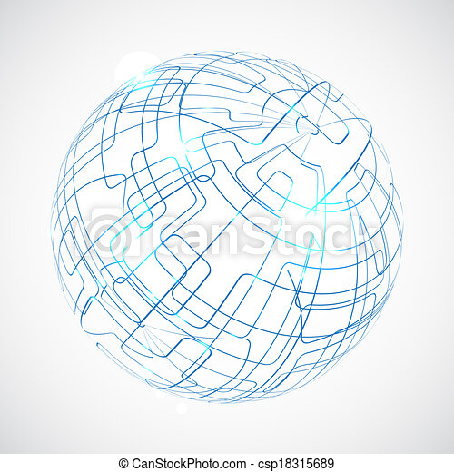 Digital globe illustration with space for your business message - csp18315689