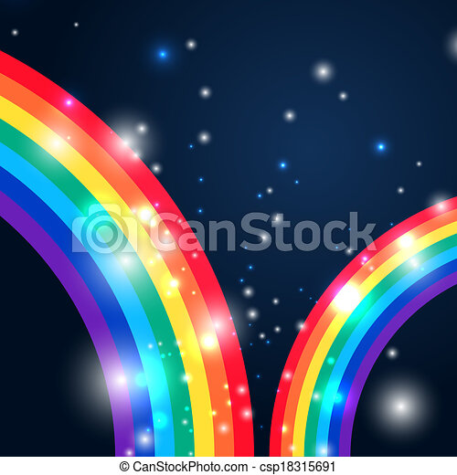 Bright rainbow illustration with space for your design - csp18315691