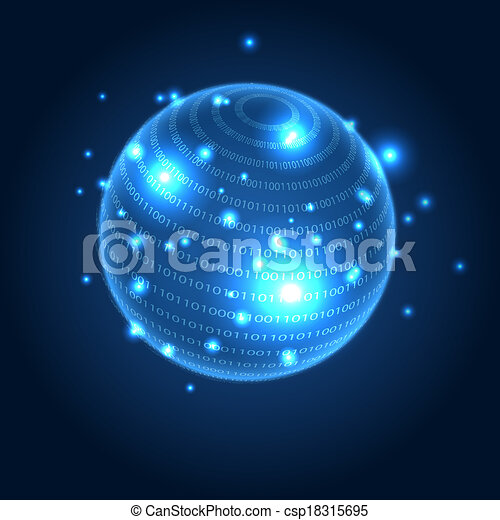 Digital globe illustration with space for your business message - csp18315695
