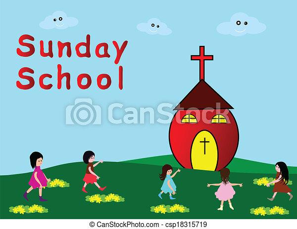 Vector Clip Art Of Sunday School Children Go To Sunday